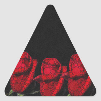 Beautiful Red Abstract Roses Triangle Sticker