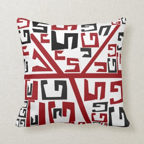 Beautiful Red and black African tribal monogram Throw Pillow