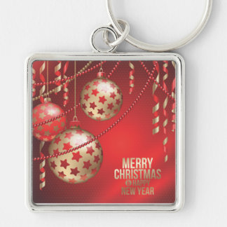 Beautiful Red and Golden Christmas Balls Keychain