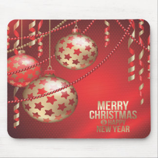 Beautiful Red and Golden Christmas Balls Mousepad