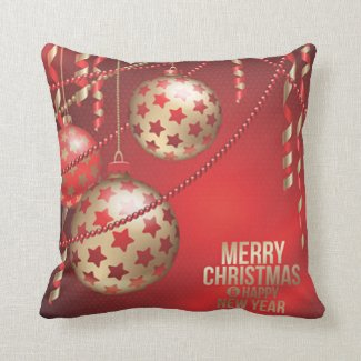 Beautiful Red and Golden Christmas Balls Square Throw Pillow