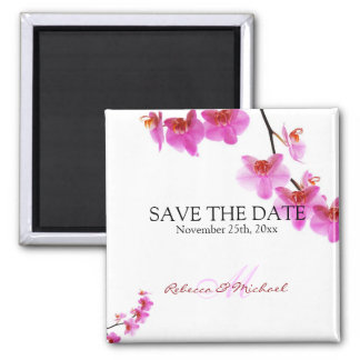 Beautiful Red and Hot Pink Orchids Save the Date Magnet