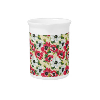 Beautiful red and white poppies on cream yellow beverage pitcher
