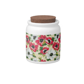 Beautiful red and white poppies on cream yellow candy jar