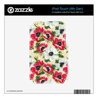 Beautiful red and white poppies on cream yellow iPod touch 4G decals