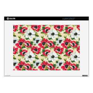 Beautiful red and white poppies on cream yellow laptop decal