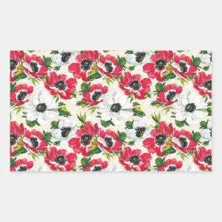 Beautiful red and white poppies on cream yellow rectangular sticker