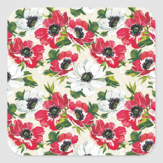 Beautiful red and white poppies on cream yellow square sticker