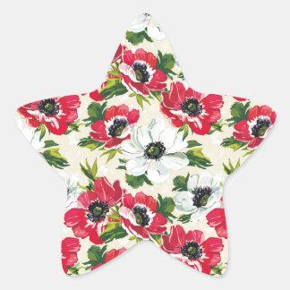 Beautiful red and white poppies on cream yellow star sticker