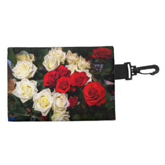 Beautiful red and white roses accessory bags