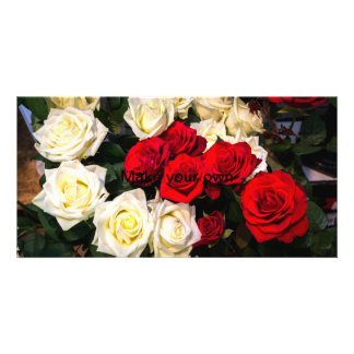 Beautiful red and white roses card