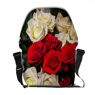 Beautiful red and white roses messenger bag