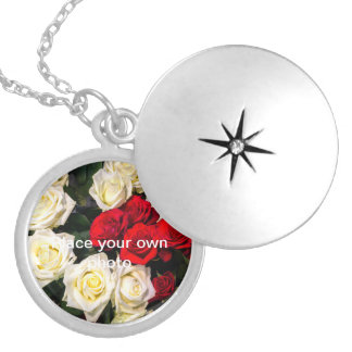Beautiful red and white roses round locket necklace