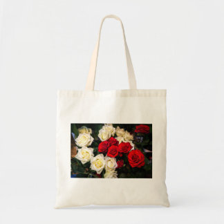 Beautiful red and white roses tote bag