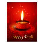 Beautiful Red Background Happy Diwali Postcard