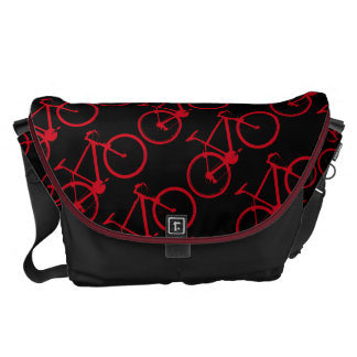 beautiful red bikes pattern courier bag