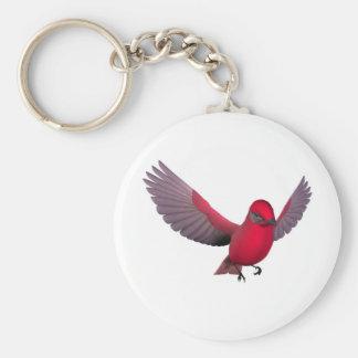 Beautiful Red Bird Basic Round Button Keychain