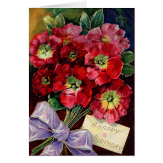 Beautiful Red Birthday Flowers Card