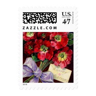 Beautiful Red Birthday Flowers Postage