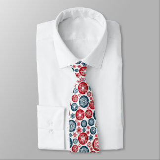 Beautiful Red-Blue Chistmas balls and Snowflakes Neck Tie