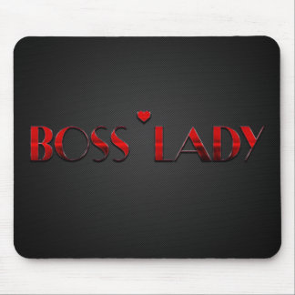 Beautiful Red Boss Lady Text with Carbon Mouse Pad