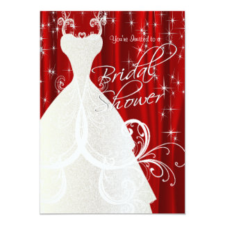Beautiful Red Bridal Shower with Sparkling Stars Card