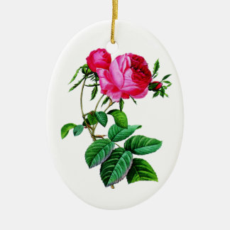 Beautiful Red Cabbage Roses by Redoute Ceramic Ornament