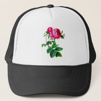 Beautiful Red Cabbage Roses by Redoute Trucker Hat