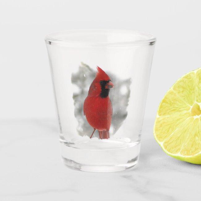Beautiful Red Cardinal Bird in Snow Shot Glass