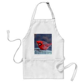 BEAUTIFUL RED CARDINAL PUFFY BIRD IN WINTER ADULT APRON