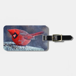 BEAUTIFUL RED CARDINAL PUFFY BIRD IN WINTER BAG TAG