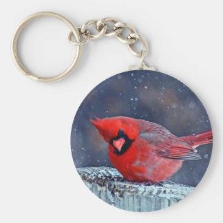 BEAUTIFUL RED CARDINAL PUFFY BIRD IN WINTER BASIC ROUND BUTTON KEYCHAIN