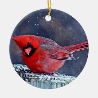 BEAUTIFUL RED CARDINAL PUFFY BIRD IN WINTER CERAMIC ORNAMENT