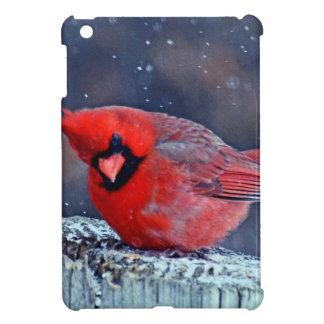 BEAUTIFUL RED CARDINAL PUFFY BIRD IN WINTER iPad MINI COVERS