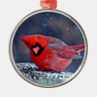 BEAUTIFUL RED CARDINAL PUFFY BIRD IN WINTER METAL ORNAMENT