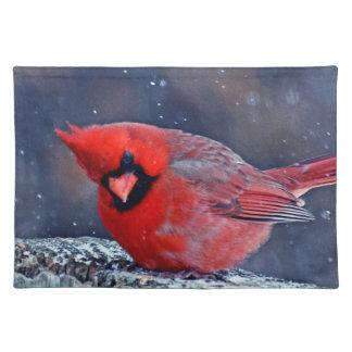 BEAUTIFUL RED CARDINAL PUFFY BIRD IN WINTER PLACEMAT
