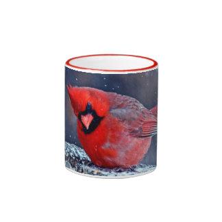 BEAUTIFUL RED CARDINAL PUFFY BIRD IN WINTER RINGER MUG