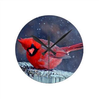 BEAUTIFUL RED CARDINAL PUFFY BIRD IN WINTER ROUND CLOCK