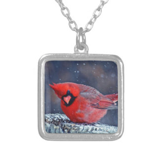 BEAUTIFUL RED CARDINAL PUFFY BIRD IN WINTER SQUARE PENDANT NECKLACE
