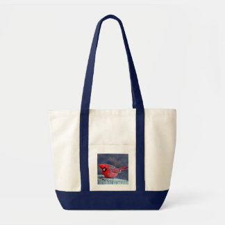BEAUTIFUL RED CARDINAL PUFFY BIRD IN WINTER TOTE BAG