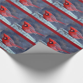 BEAUTIFUL RED CARDINAL PUFFY BIRD IN WINTER WRAPPING PAPER