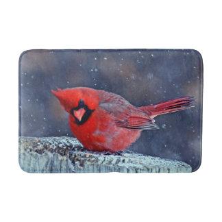BEAUTIFUL RED CARDINAL PUFFY BIRD WINTER BATH MAT