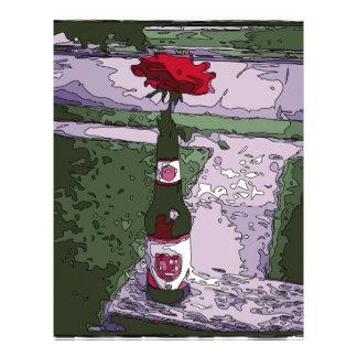 Beautiful Red Carnation in a Beer Bottle Letterhead Design