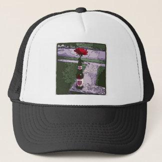 Beautiful Red Carnation in a Beer Bottle Trucker Hat
