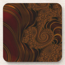 Beautiful Red Cherry Caramel Fractal Drink Coaster
