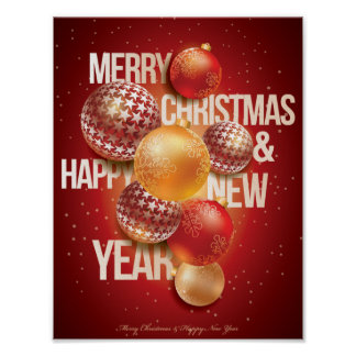 Beautiful Red Christmas & New Year Greeting Poster