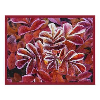 Beautiful Red Colors Autumn Leaves Frozen Dew Poster