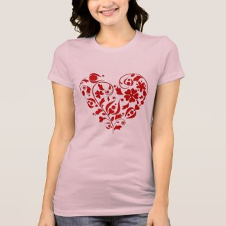 Beautiful Red Floral Heart Valentine's Day T-shirt