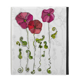 Beautiful Red Flowers Curly Leaves iPad Case
