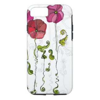 Beautiful Red Flowers Curly Leaves iPhone 7 Case